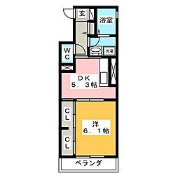 ウィングパレス津島笹が瀬[2階]の間取り