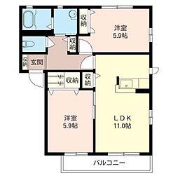 KIガーデンズ弐番館[1階]の間取り