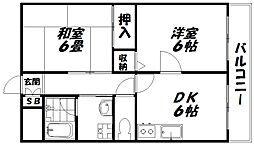 京阪本線 西三荘駅 徒歩3分の賃貸マンション 2階2DKの間取り