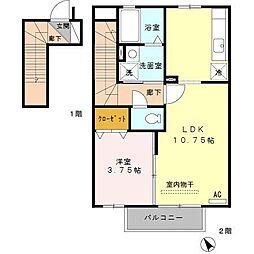 東京都日野市栄町2丁目の賃貸アパートの間取り