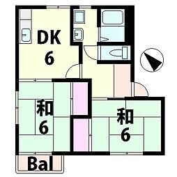 滋賀県湖南市宮の森1丁目の賃貸アパートの間取り