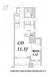 都営浅草線 人形町駅 徒歩12分の賃貸マンション 6階1LDKの間取り