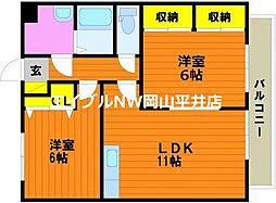 JR山陽本線 西川原駅 徒歩6分の賃貸マンション 2階2LDKの間取り