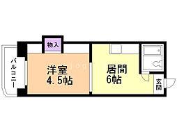ノースタウンハウス 6階1DKの間取り