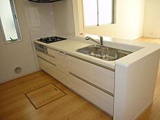 同仕様写真(キッチン)収納豊富なシステムキッチン・浄水機能付きシャワーヘッド