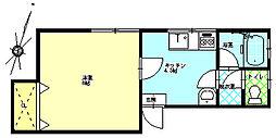 アビイロード 2階1Kの間取り