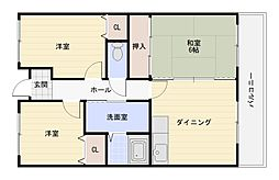 大阪府大阪市平野区長吉出戸1丁目の賃貸マンションの間取り