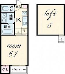 ノーブルモネ[2階]の間取り