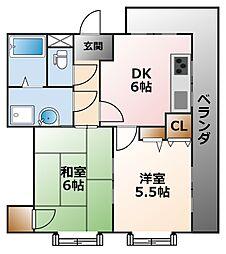 ゴーディ甲子園1番館[2階]の間取り
