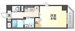 JR山陽本線 岡山駅 徒歩14分の賃貸マンション 5階1Kの間取り