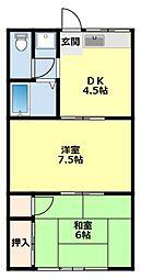 愛知県豊田市四郷町山畑の賃貸アパートの間取り