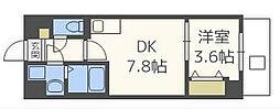福岡市地下鉄空港線 西新駅 徒歩8分の賃貸マンション 3階1DKの間取り