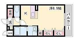 神鉄粟生線 鈴蘭台駅 徒歩5分の賃貸アパート 1階ワンルームの間取り