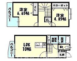 [テラスハウス] 福岡県糟屋郡粕屋町花ヶ浦2丁目 の賃貸【/】の間取り