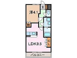 静岡県沼津市東沢田の賃貸アパートの間取り