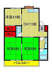 コーポKIKU A・B[A202号室]の間取り