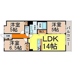 愛知県名古屋市熱田区六野1丁目の賃貸マンションの間取り