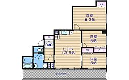 GRAZIONIHONICHI[12階]の間取り