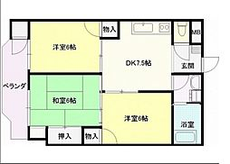 広島電鉄6系統 江波駅 徒歩3分の賃貸マンション 3階3DKの間取り