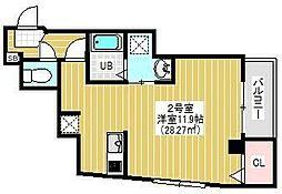 BRIGHT FUTURE東大島 2階1Kの間取り