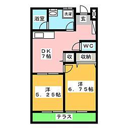 CASA白井 2階2DKの間取り
