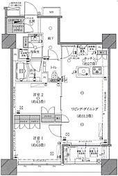 東京メトロ有楽町線 豊洲駅 徒歩18分の賃貸マンション 28階2LDKの間取り