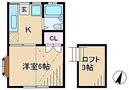 東京都北区田端3丁目の賃貸アパートの間取り