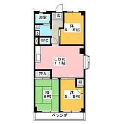 サンパレスマンション[1階]の間取り