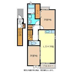 リリーハイツ富竹B[2階]の間取り