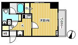 スクエアシティ東京保谷 6階1Kの間取り