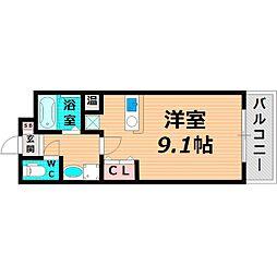 Osaka Metro今里筋線 清水駅 徒歩2分の賃貸マンション 2階1Kの間取り