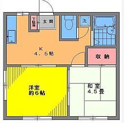 フラット田中[2階]の間取り