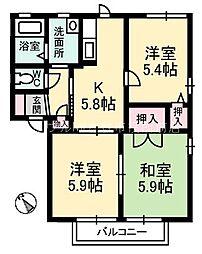 岡山県倉敷市玉島丁目なしの賃貸アパートの間取り