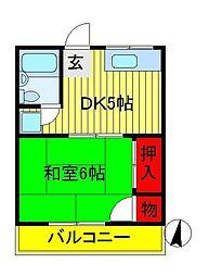 渡邊コーポ[G号室]の間取り