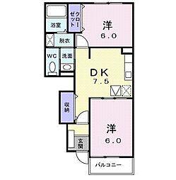 レジデンスU.K[0102号室]の間取り