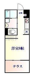 JR仙石線 陸前原ノ町駅 徒歩10分の賃貸アパート 1階ワンルームの間取り