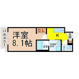 サムティ熱田RESIDENCE 3階1Kの間取り