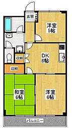 東京都世田谷区宇奈根2丁目の賃貸マンションの間取り