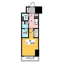 パークアクシス新栄 7階1Kの間取り
