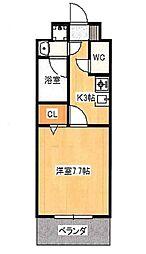 JR吉備線 備前三門駅 徒歩8分の賃貸マンション 2階1Kの間取り