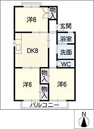 エクセルタウン高根台B棟[2階]の間取り
