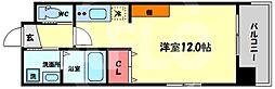 Kaunis都島 7階ワンルームの間取り