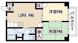愛知県名古屋市緑区清水山2丁目の賃貸アパートの間取り