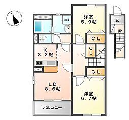 フィオーレ(上飯田)[2階]の間取り