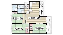 平和が丘住宅7棟[105号室]の間取り