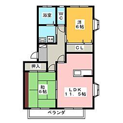 コーポヤマカワ[1階]の間取り