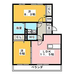 リバーパレス B棟[2階]の間取り
