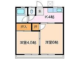 富田コーポ[2階]の間取り