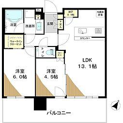 シティタワーズ東京ベイ セントラルタワー 24階2LDKの間取り