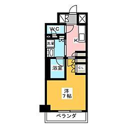 プラウドフラット菊川 1階1Kの間取り